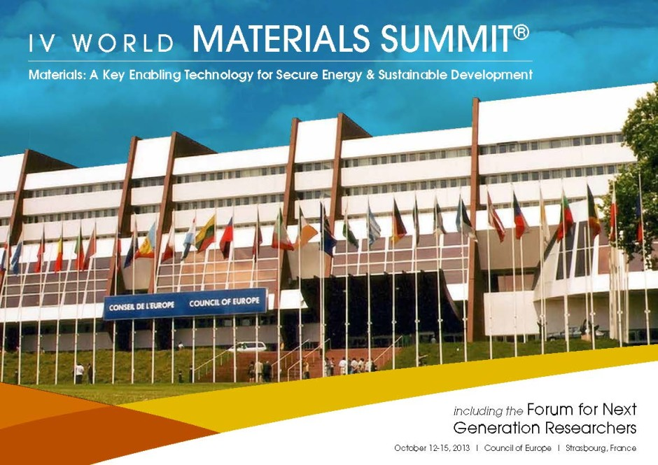 Fourth World Materials Summit, Strasbourg,France, October 2013
